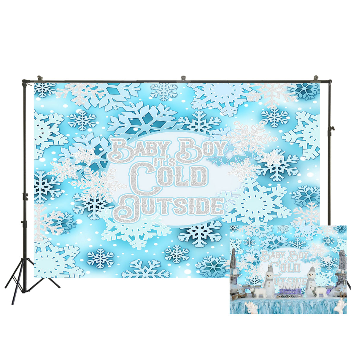 Baby Boy It S Cold Outside Backdrop Winter Snowflake Baby Shower Background 1st Birthday Party Decorations Baby Shower W 3625 Background Aliexpress