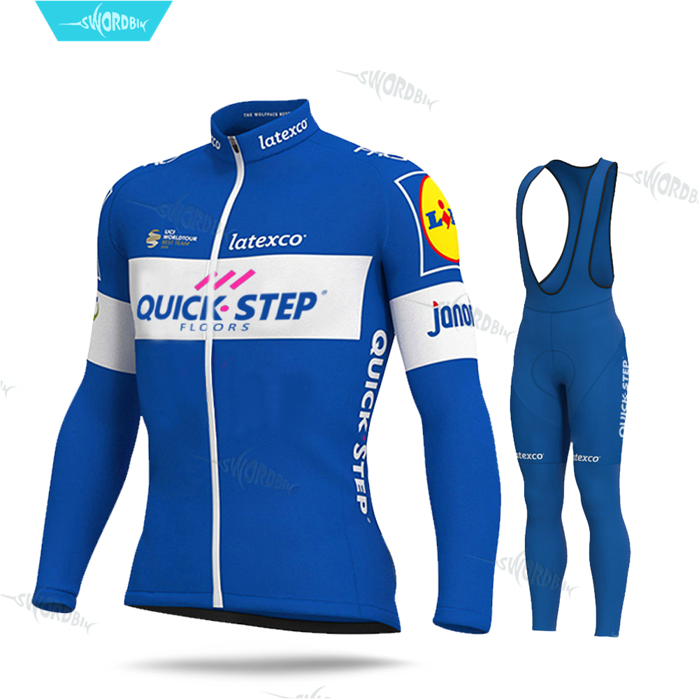 QUICK STEP Pro Team Cycling Clothing MTB Racing Clothes Long Sleeve Cycling Jersey Set Triathlon Breathable UV Men Cycling Kit