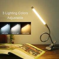 Lámpara LED de escritorio con Clip, 3 modos de atenuación, 10 niveles de abrazadera, 20 Led, Flexible, USB, para cuello de ganso