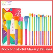 Docolor 15 sztuk pędzle do makijażu profesjonalny Powder Foundation Eyeshadow makijaż zestaw pędzli włosy syntetyczne kolorowe pędzle do makijażu