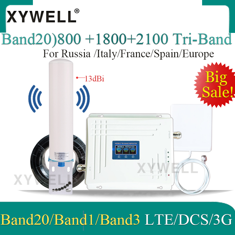Tri-Band Cellular Amplifier Band20)LTE 800/2100/1800 Mhz 4G Signal Booster LTE WCDMA GSM Repeater 2g 3g 4g Mobile Signal Booster