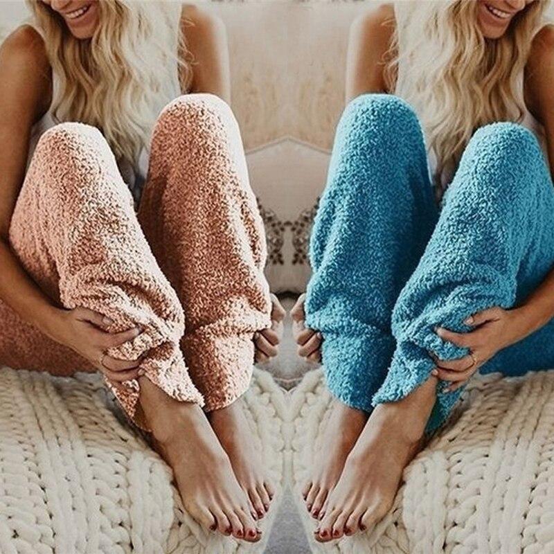 Women's Plush Pajama Pants Casual Soft Sleep Lounge Pants Loose Fluffy Fuzzy Pajama Pants