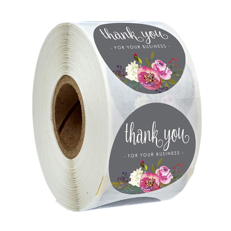 500Pcs Round Floral Thank You For Your Business Stickers 1inch Color Flower Handmade Stickers Envelope Seal Stationery Sticker