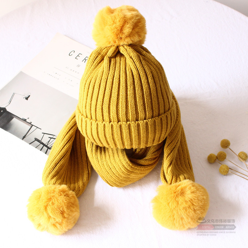 Kitted Winter Hat Scarf Set For Children Scarves And Hat For Boys Girls Keep Warm Unisex Winter Hat Pom Pom Hats Solid Color