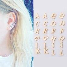 2021 Stainless Steel 26 A-Z Initial Small Letter Earrings DIY Alphabet Name Earrings Fashion Jewelry Pierced Earrings Unisex