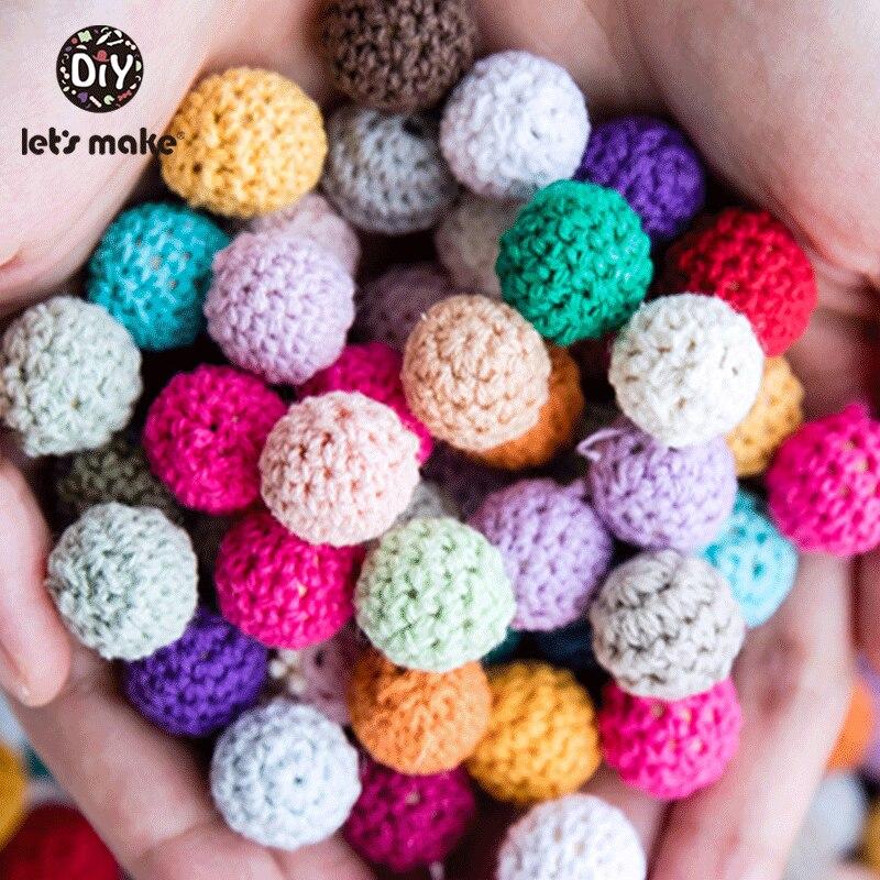 Купить с кэшбэком Let's Make 16mm 10pc Wooden Crochet Beads Chewable Beads DIY Wooden Teething Knitting Bead Jewelry Crib Sensory Toy Baby Teether