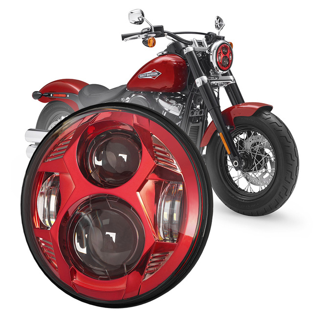 5.75 Inch 51W Osram LED Lamp Spider Design Motorcycle Headlight With High/Low Beam For Harley FXR2, R3, R4 FLSTSB FLSTSC FLSTSE 1