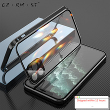 Suitable for Apples 120,000 magnetic king double sided buckle iphone11promax mobile phone shell glass new metal all inclusive m