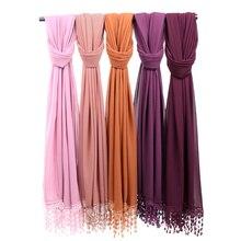 Пузырьковый шифоновый хиджаб с кисточками, шарф, шали, простые кружевные мусульманские шарфы, обруч на голову, шарф 180*70 см