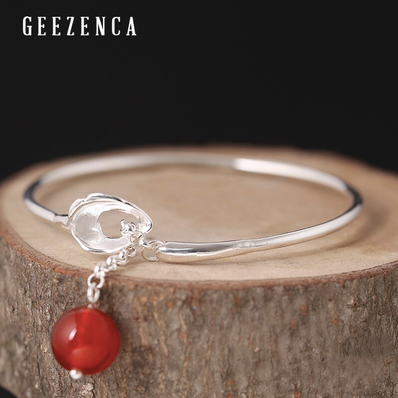990 Sterling Silver With Red Agate Open Bangle Original Design Hand-polished Good Luck Bracelet Bangles Fine Jewelry For Women