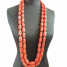 4UJewelry 13-14mm Nigerian Mens Coral necklace Long Design 2 Layers Bridal Jewelry Set For Groom Bracelet and Necklace 2 Pieces Jewellery Set 2019 Tribal Wedding Set Nigerian(China)