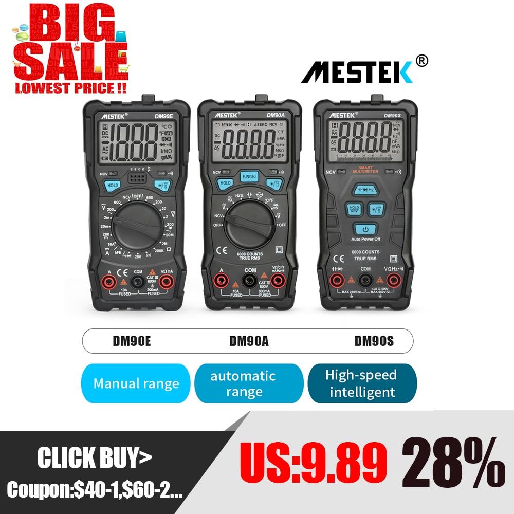 MESTEK Digital Multimeter DM90A/E/S NCV 6000 Counts Auto Ranging AC/DC Voltage Meter Flashlight Back Light Universal Multitester