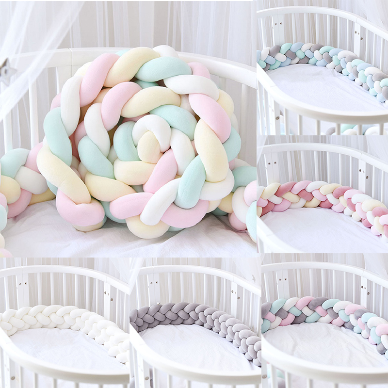 Baby Crib Bumper 4 Braids Handmade Knot Baby Crib Side Protect Infant Cot Bumper Newborn Soft  Plush Toy Baby Room Decor