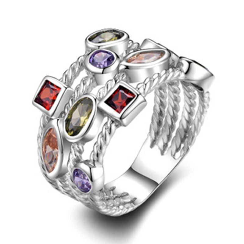 Irregular Four-Layer Colored Zircon Stone Rings  For Women Wedding Party Gift Female Shining Rhinestone Engagement Rings