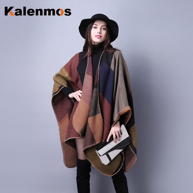Blanket Scarf Fall Winter Thick Wrap Poncho Women Plaid Travel Shawl Imitation Cashmere Capes National Wind Fork Thicker Cloak 2