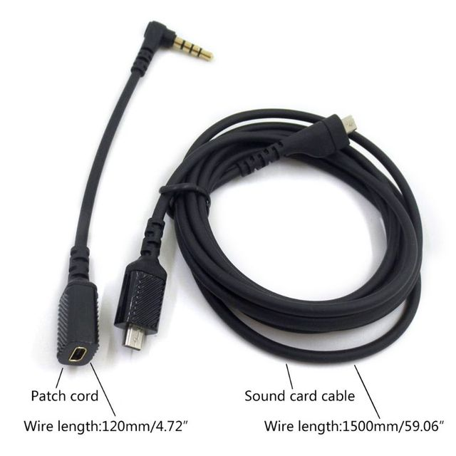 Replacement Sound Card Extension Cords Audio- Cables For Steel-Series Arctis 3/5/7 Pro Gaming Headphone