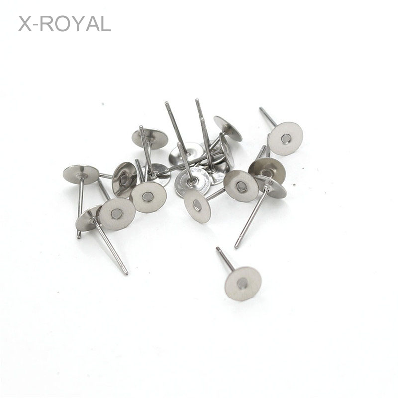 X-ROYAL 100pcs/lot Stainless Steel Blank Post Earring Studs Pins Flat Round Tray Base 4mm 6mm 10mm Ear Jewelry Findings Needles