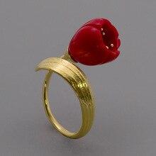 INATURE 925 فضة الأحمر المرجان زنبق الوادي زهرة خواتم مفتوحة للنساء مجوهرات الزفاف