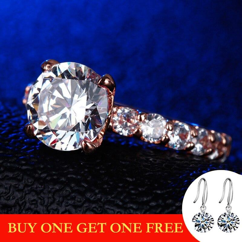 3 carats taille ronde 9.5mm S925 bague en argent Sterling diamant couleur or Rose Halo bague Fine Style Unique amour mariage fiançailles