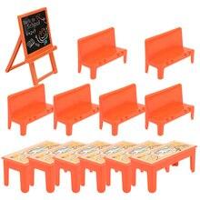 13pcs Mini Classroom Scene Adornment Mini Wooden Desk Chair Blackboard Model