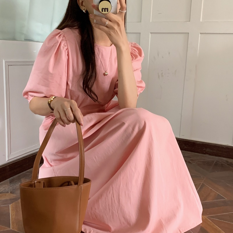 Hea20b46d196043769ad962c46b4d9c0ca - Summer O-Neck Short Sleeves Elastic-Waist Calf Length Solid Dress