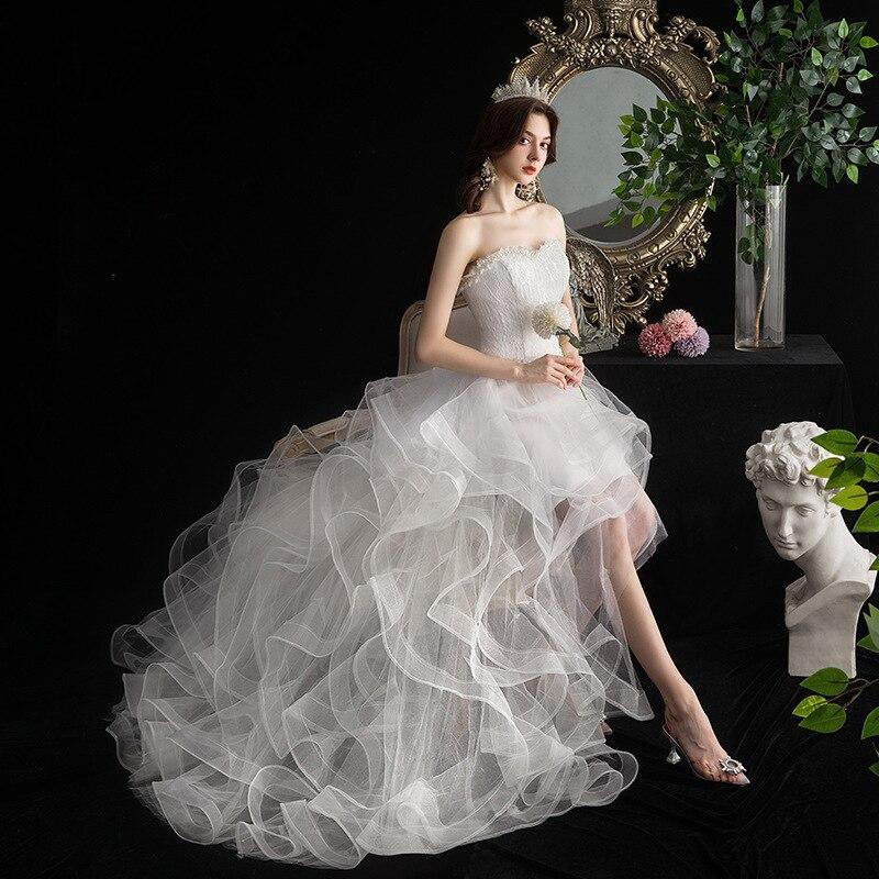 2019 Sale Robe De Cocktail Courte Autumn 2020 New Short Front And Long Back Wedding Dress Princess Puff Cake Skirt Studio D83