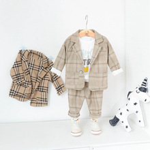 Boys Suits Blazers Fashion White Shirts Plaid Tops Long Pant