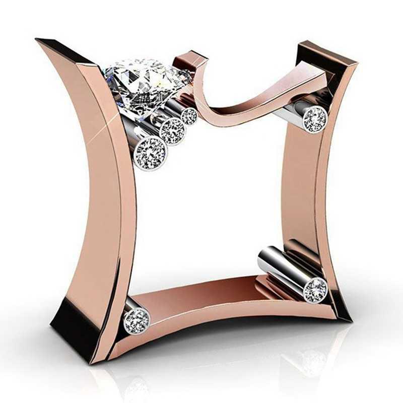 1 pc incrustado zircão cúbico anel quadrado três cor anel rosa ouro tira ouro anel geométrico masculino moda jóias acessórios