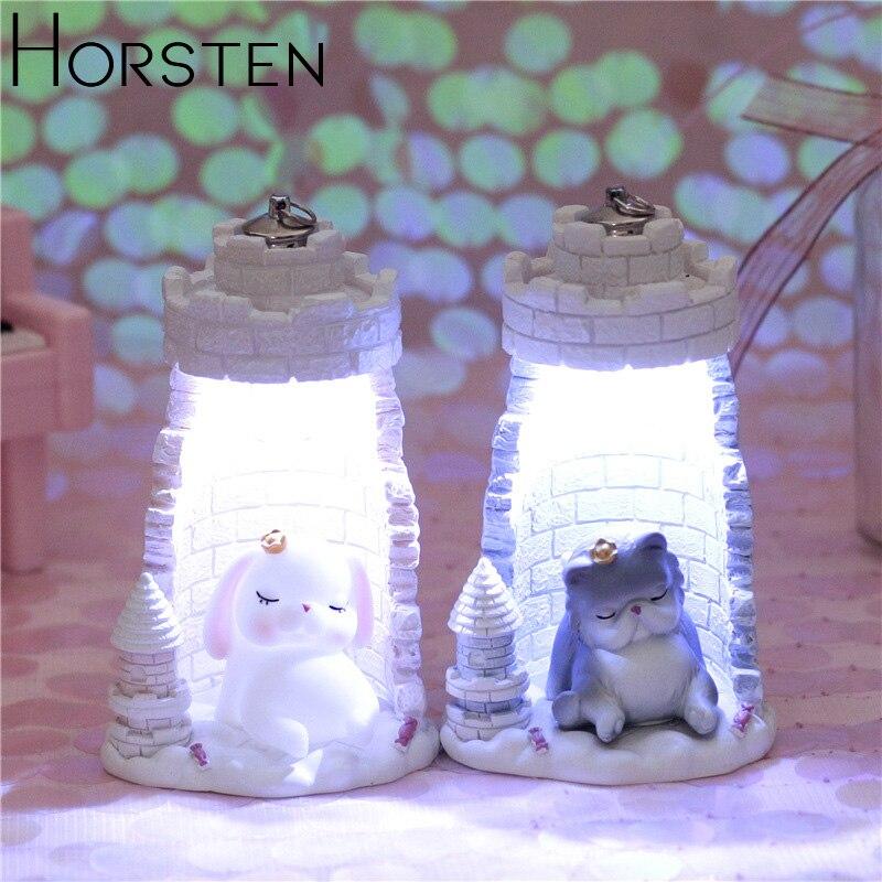 Creative Cute Cat Castle Night Light Table Decoration Lamp Rabbit Resin Cartoon Night Lamp Baby Kids Birthday Xmas Gift