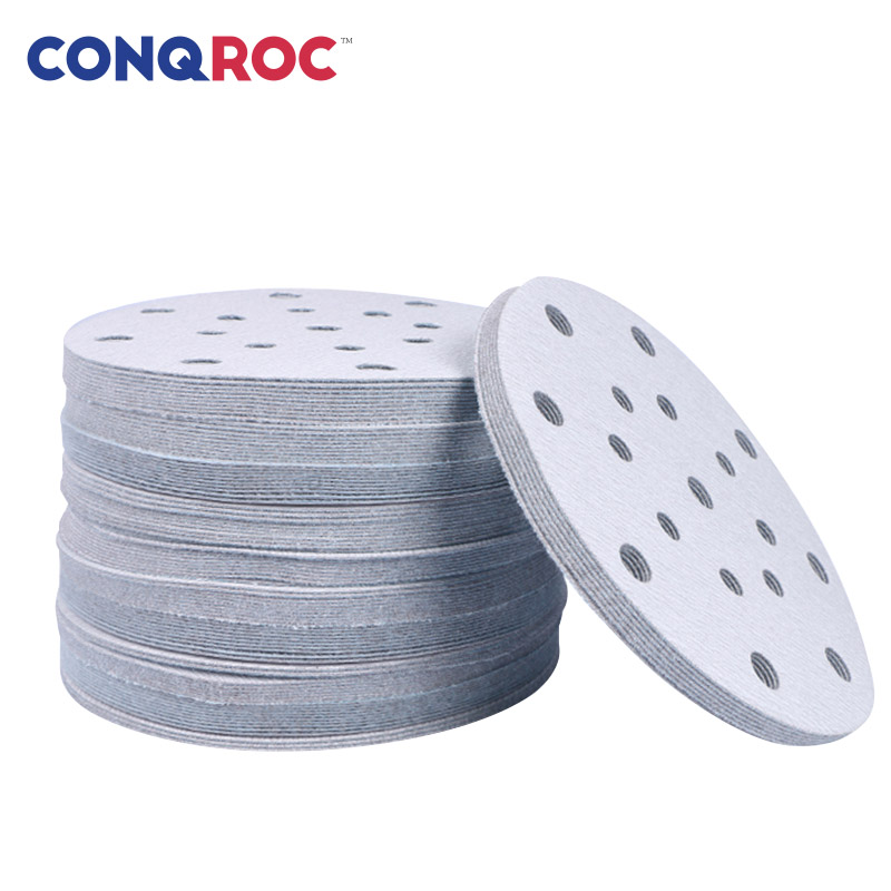 100 Pieces 6-inch 150mm 17 Holes Sanding Discs Grit 40~1000 White Brown Fused Alumina Sanding Paper Dry Sandpaper High Quality