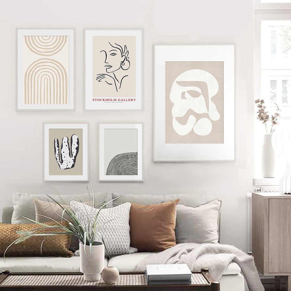 추상 스칸디 나비아 유행 Boho 베이지 색 미니멀리스트 캔버스 회화 포스터 인쇄 벽 아트 그림 거실 홈 장식