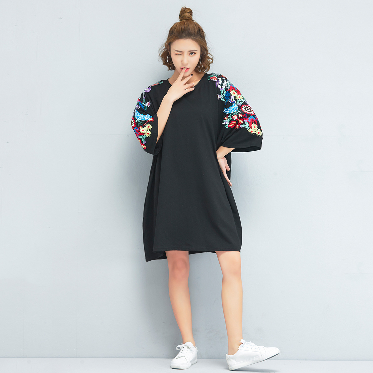 Summer Korean-style Plus-sized Size Loose-Fit Slimming Mid-length Embroided Dress WOMEN'S Dress