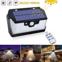 1000lm 防水ガーデンソーラーライト 55LED ソーラー USB 充電屋外ヤード街路灯セキュリティランプリモコン -