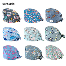 Surgical-Cap Doctor Nurse Salon Printed Beauty Cotton High-Quality Long-Hair Flower Sweat-Absorbent