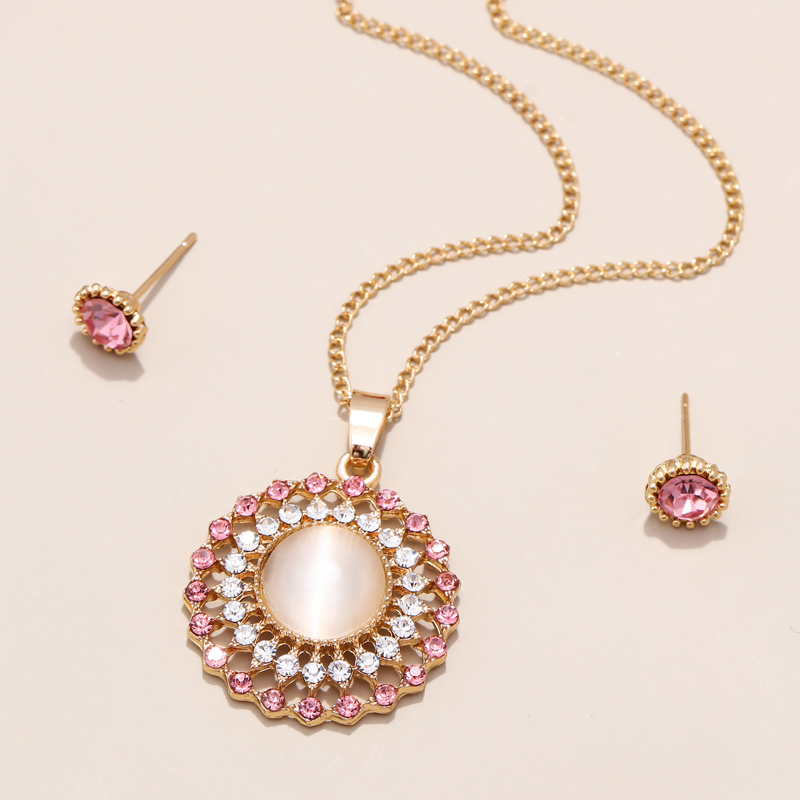 Exquisite Gold Color Bridal Jewelry Sets Bling Austrian Crystal Opal Stone Pendant Necklaces Earrings Wedding Accessory Gifts 3