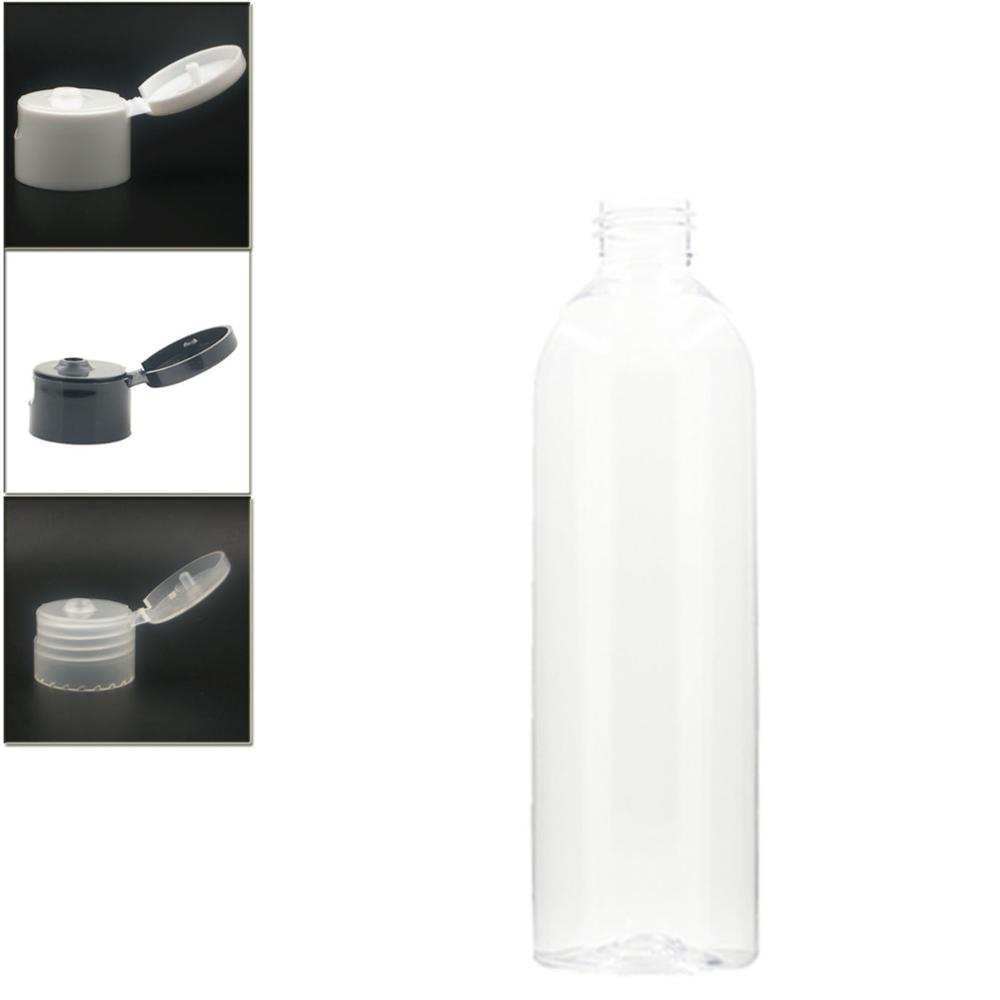 Empty White Dispensing Caps Plastic Bottles, 250ml Clear PET Bottle With Flit Top Cap