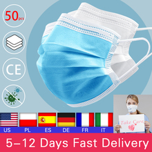 50pcs Disposable Mouth Face Mask Anti-Dust 3 Layer Mouth
