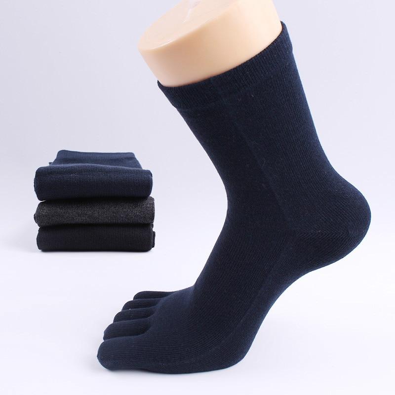 Japanese Plain Color Socks Cotton Men Breathable Cotton Toe Separator Socks Business Casual Mens Dress Five Finger Socks BOC097