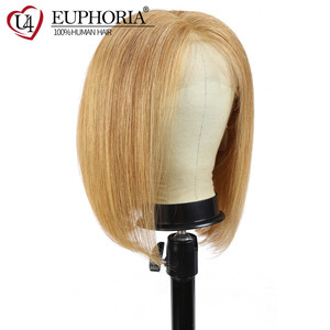 Image 2 - 13x4 Lace Front Wigs Straight Blonde 27 Human Hair Wigs Brown Short Bob Lace Frontal Wigs Peruvian Remy Hair Middle Part Euphori