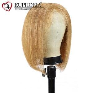 Image 2 - 13x4 perucas dianteiras do laço em linha reta loira 27 perucas de cabelo humano marrom curto bob laço frontal perucas peruano remy cabelo parte do meio eufori