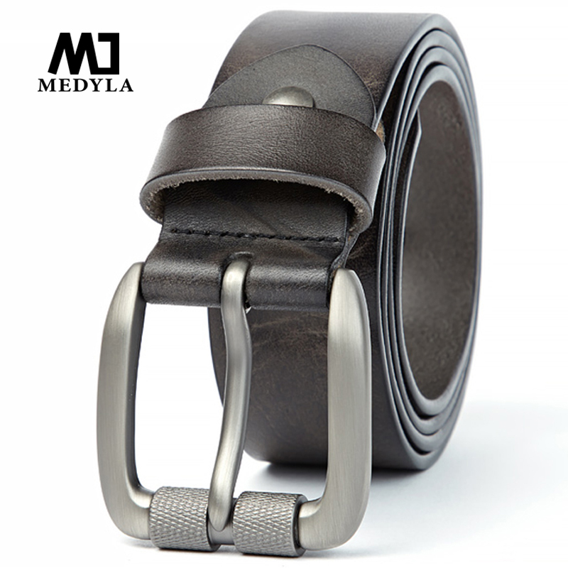 MEDYLA Men's Belt Vegetable Tanned Layer Leather Belt Pin Buckle Washed Retro Denim Pants Belt