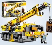 665pcs Ewellsold Technic Engineering Lifting Crane Building Blocks Compatible Technic truck Construction Brick Toys For children