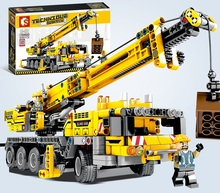 665pcs Ewellsold 기술 공학 리프팅 크레인 빌딩 블록 호환 기술 트럭 건설 벽돌 장난감 어린이위한