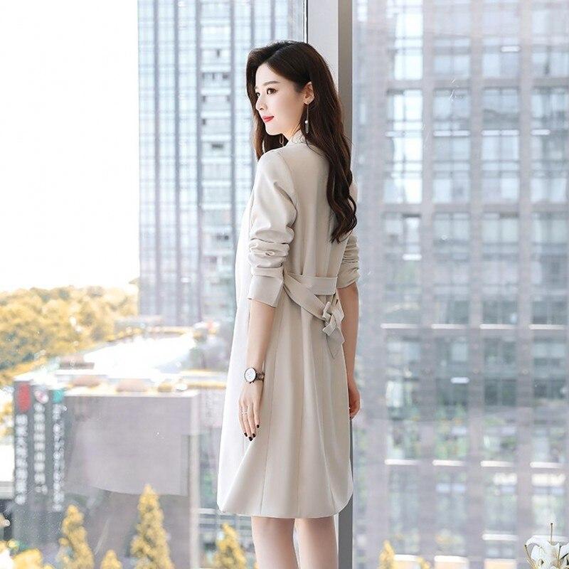 Fashion Elegant Office Long Sleeve Belt Women Blazer Jackets Sleeveless A Line Dress Two Piece Set 2020 Autumn Female Suit Red