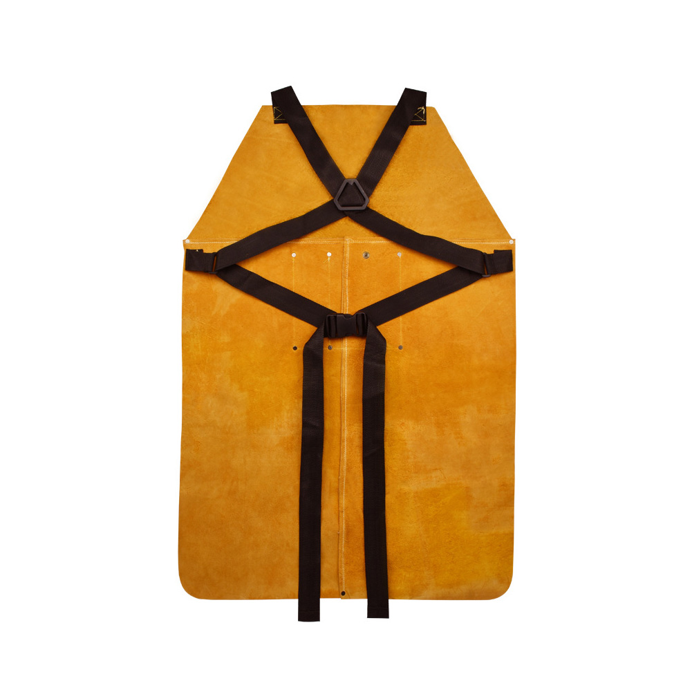 Men Women Electric Welding Anti-scalding Cowhide Leather Protective Adjustable Heat-Resistant Thicken Working Apron Front Pocket
