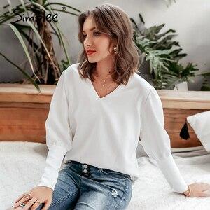 Image 4 - Simplee Blusa con manga farol para otoño e invierno, camisa blanca con cuello de pico para mujer, Blusa de gasa para oficina
