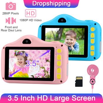 GKTZ 3 5 Cal dziecko aparat fotograficzny 1080P 28MP dziecko aparat cyfrowy Kid aparat do Selfie zdjęcie kamera wideo dla dzieci prezent dziewczyny zabawki aparat tanie i dobre opinie PROGRACE Stała ogniskowa CN (pochodzenie) Brak Full hd (1920x1080) CMOS 4 3 cale 4 5-54 mm 24 0MP 3 5 inch Karta SD Standardowy ekran