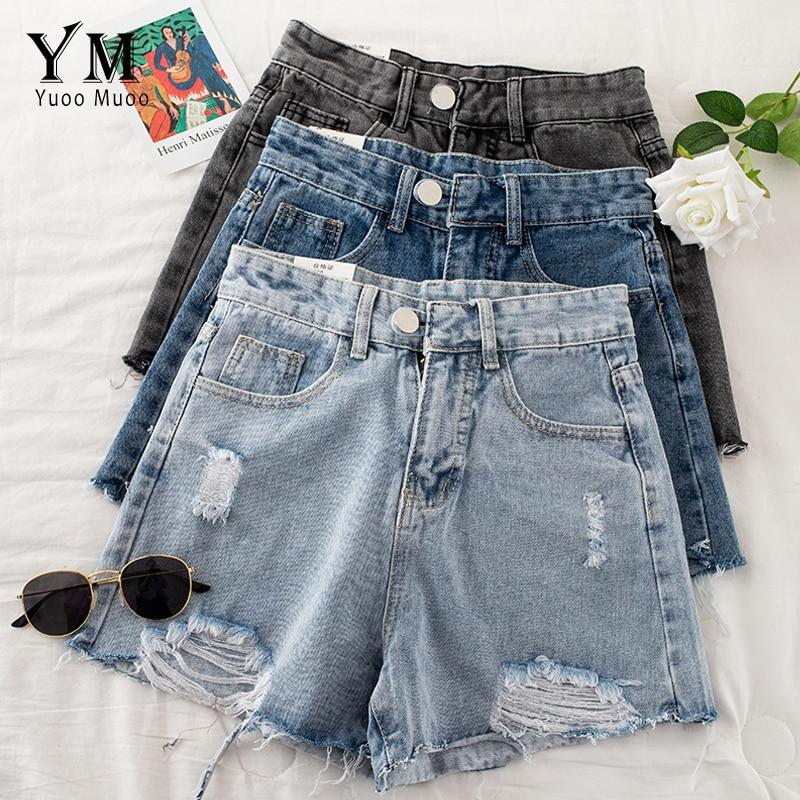 YuooMuoo Fashion Ripped Denim Shorts Women 2020 Summer Korean Brief Casual High Waist Jeans Shorts Tassel Wide Leg Shorts Bottom