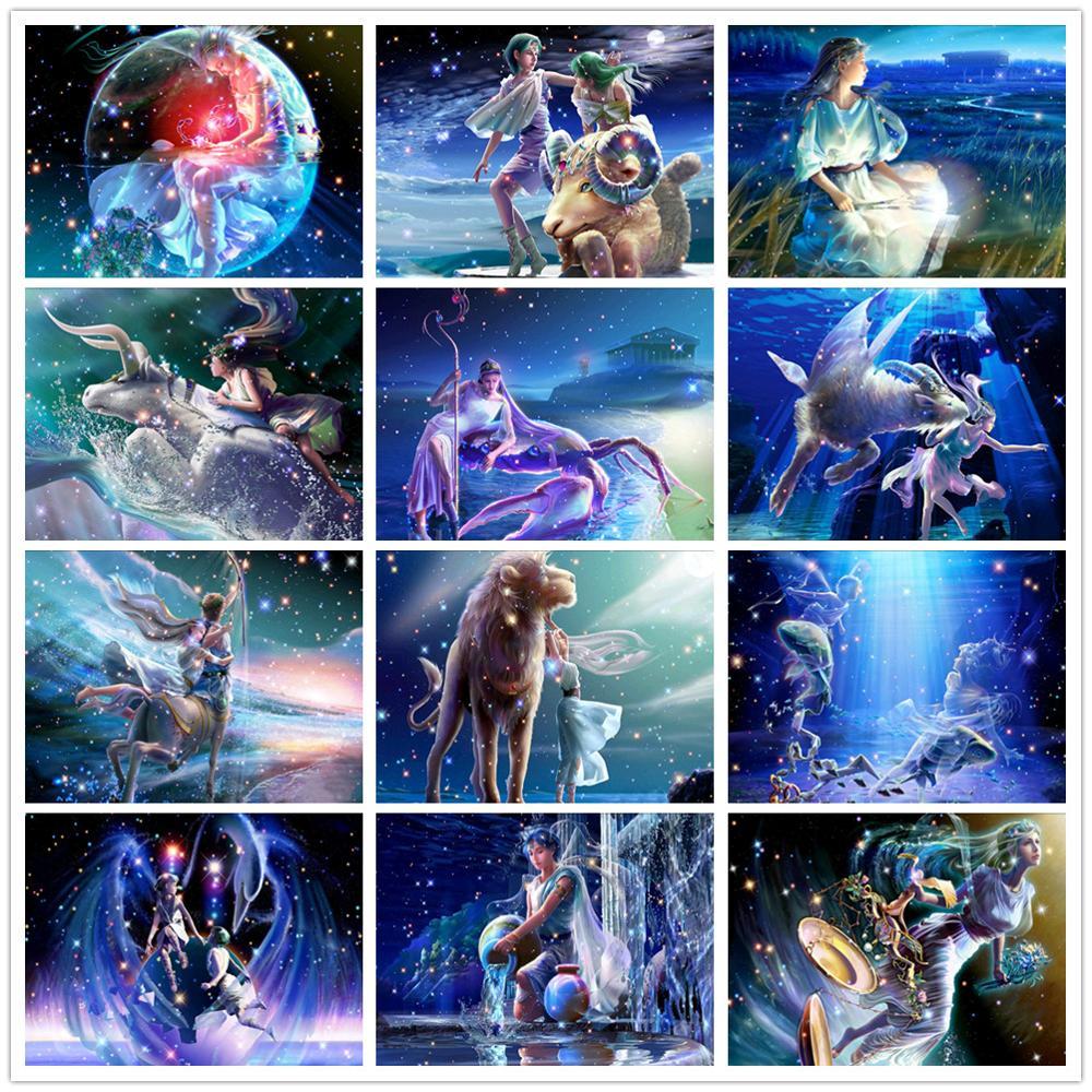 5D Diy Diamond Painting Zodiac Constellation Full Circle Diamond Embroidery Rhinestone Cross Stitch Wall Sticker