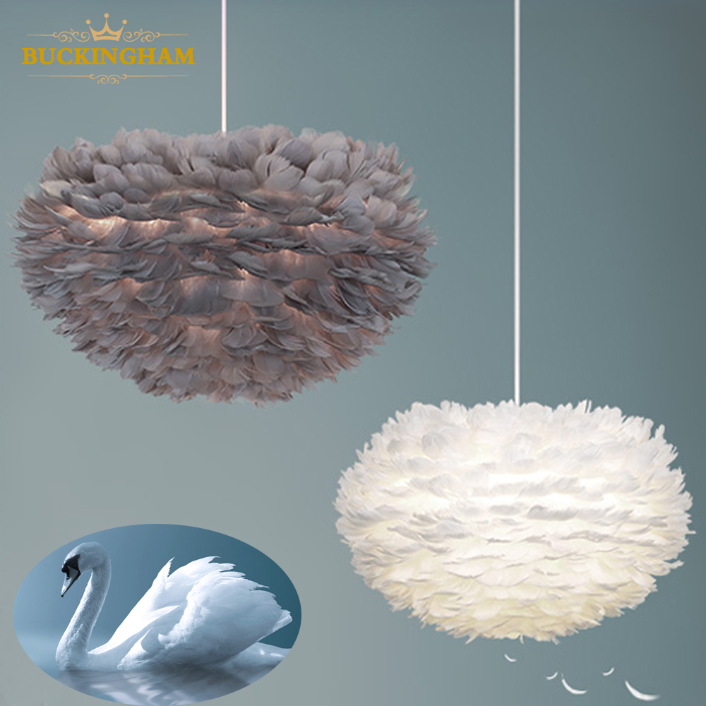 Feather Pendant Lights Art Decorative Droplight Romantic Hanginglamp  Feather Modern Nordic Design Vintage Loft Decor